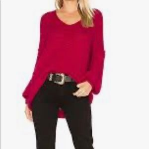 Free People All Mine Sweater High Low Raspberry XS